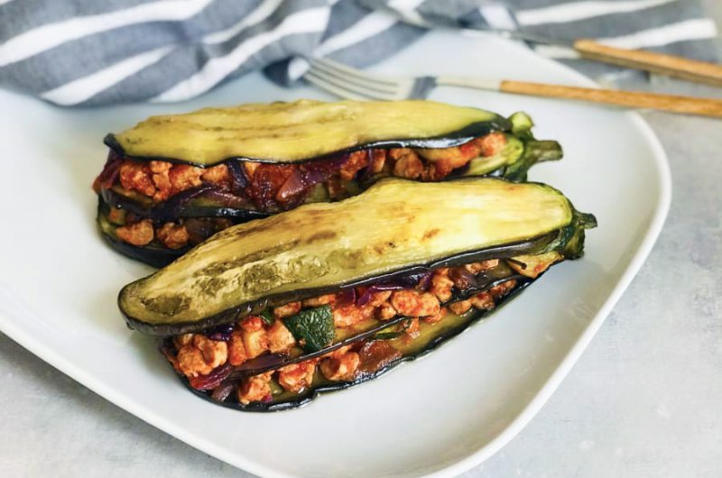 Aubergine lasagne met soja