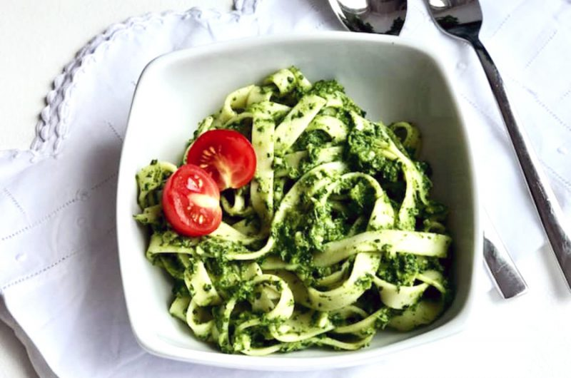 Tagliatelle met spinazie pesto